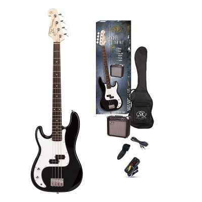 SX 4/4 Bass Guitar Pack Left-Handed (Black) with SX Amp