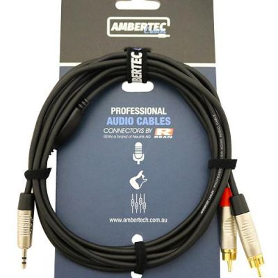 AmberTec Stereo Breakout Cable (3.5mm TRS to Dual RCA) 1.5m