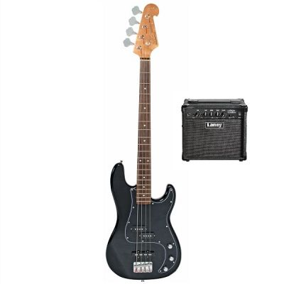 SX 4/4 PJ Bass Guitar Pack with Laney Amp - Black